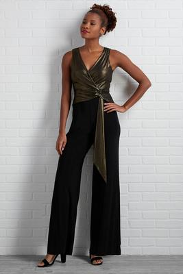 shimmer in gold jumpsuit