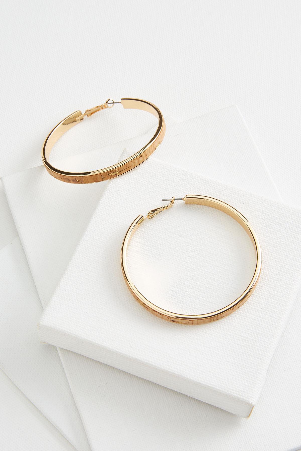 Cork Golden Hoop Earrings