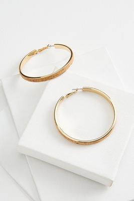 cork golden hoop earrings