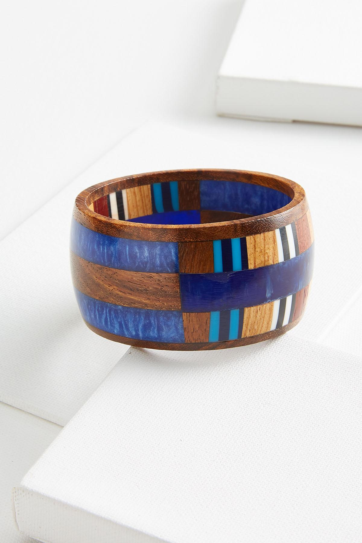 Blue Wooden Bangle