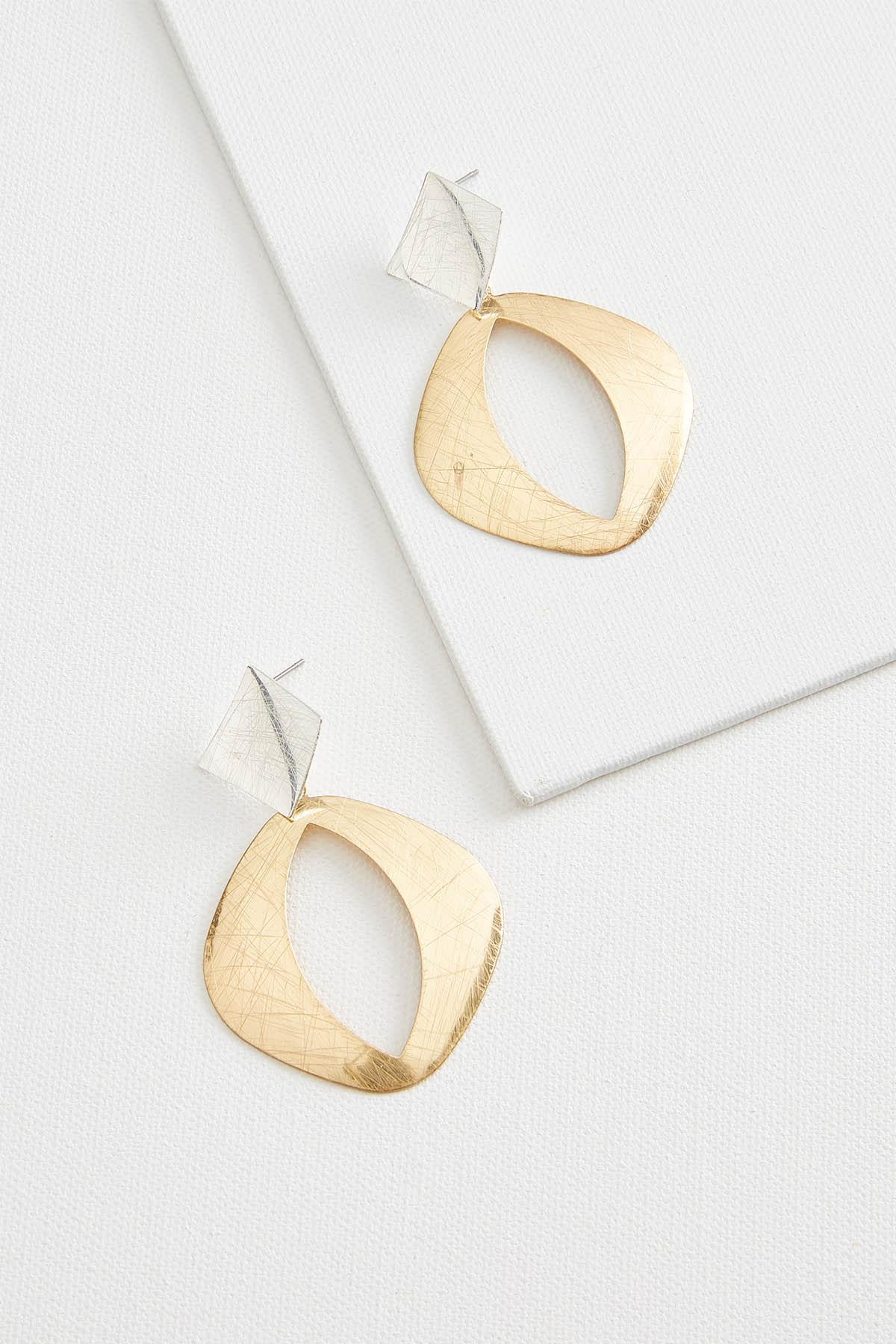 Mixed Metal Scratched Earrings