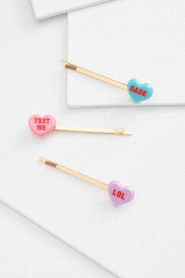 candy heart hair pins