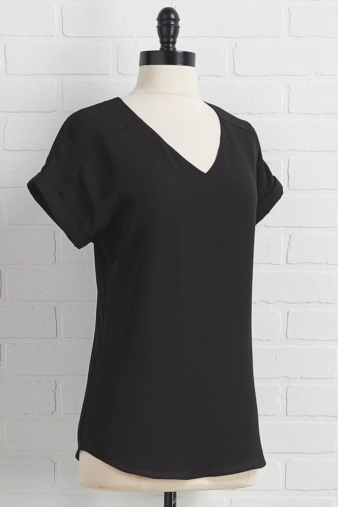 Solid V- Neck Top