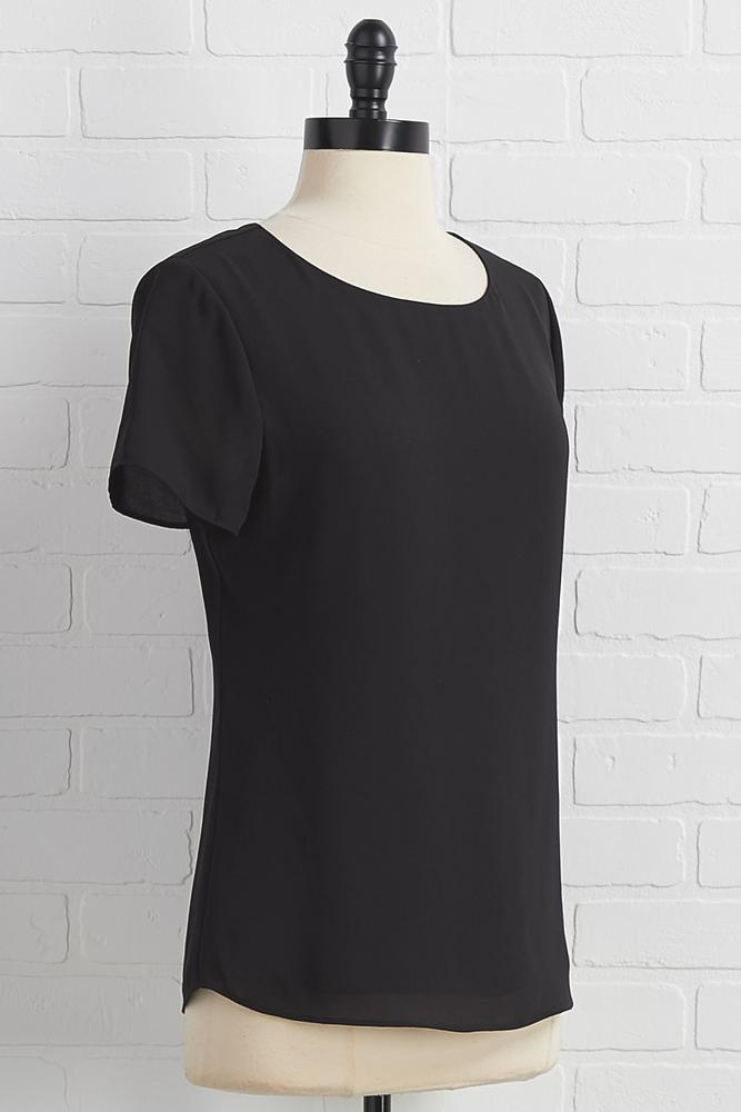 Woven Scoop Neck Top