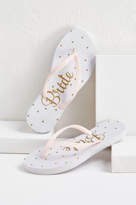 dotted bride flip-flops