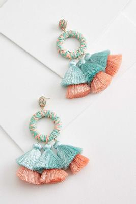 statement raffia tassel earrings
