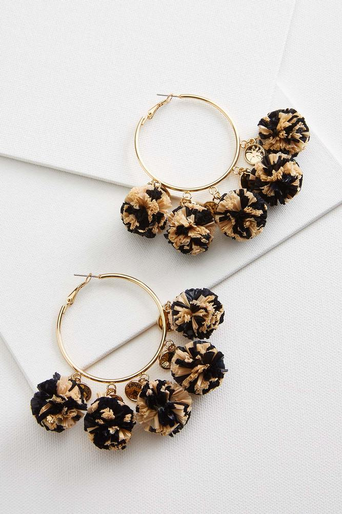 Raffia Pom Hoop Earrings