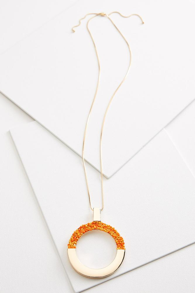 Beaded Circle Pendant Necklace