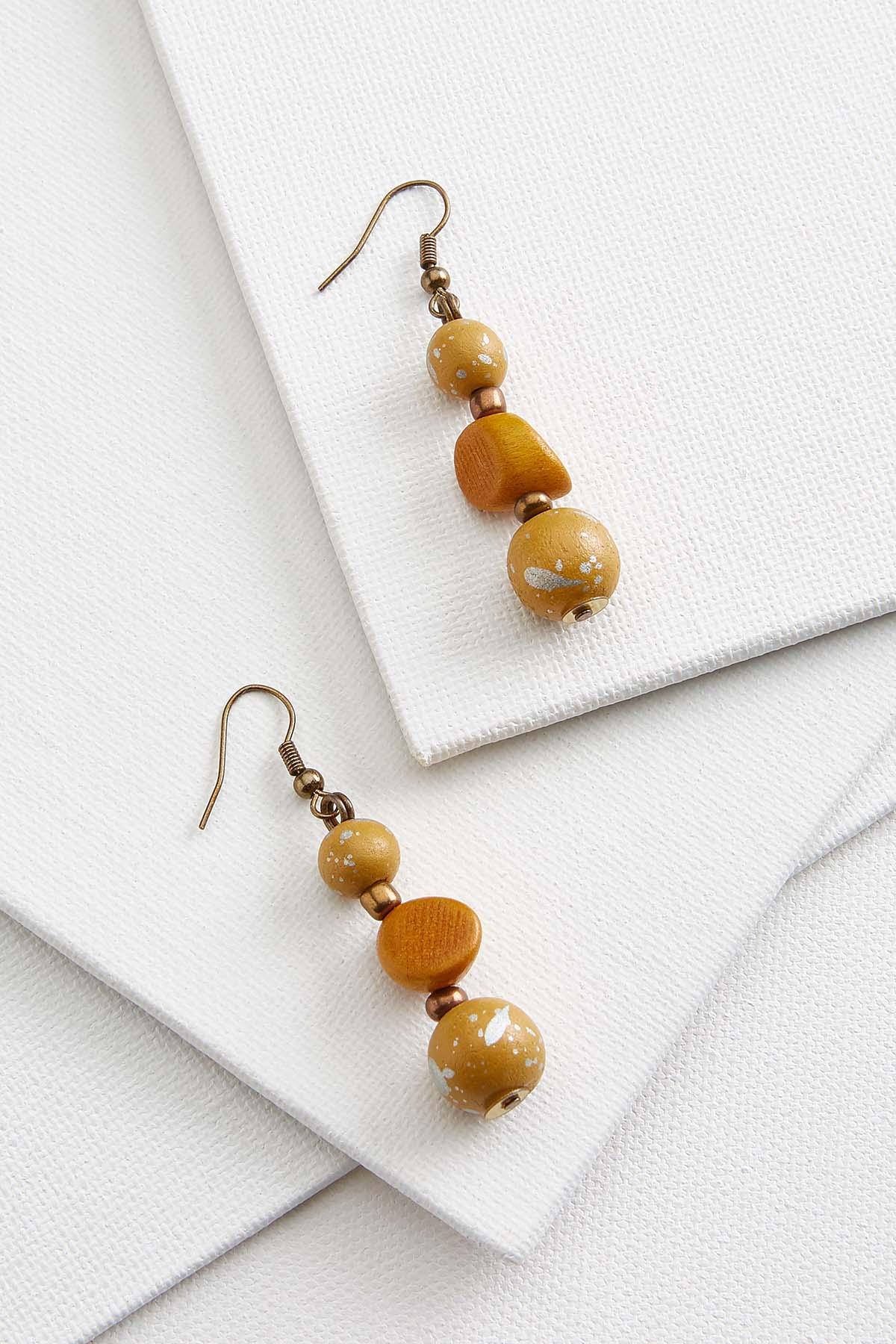 Three Bead Wood Earrings