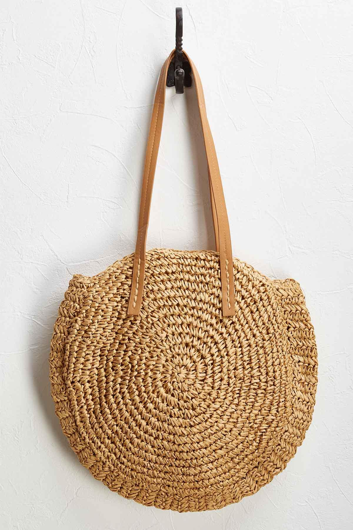 Round Packable Straw Bag