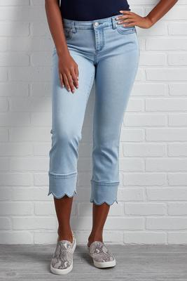 cropped scallop hem jeans