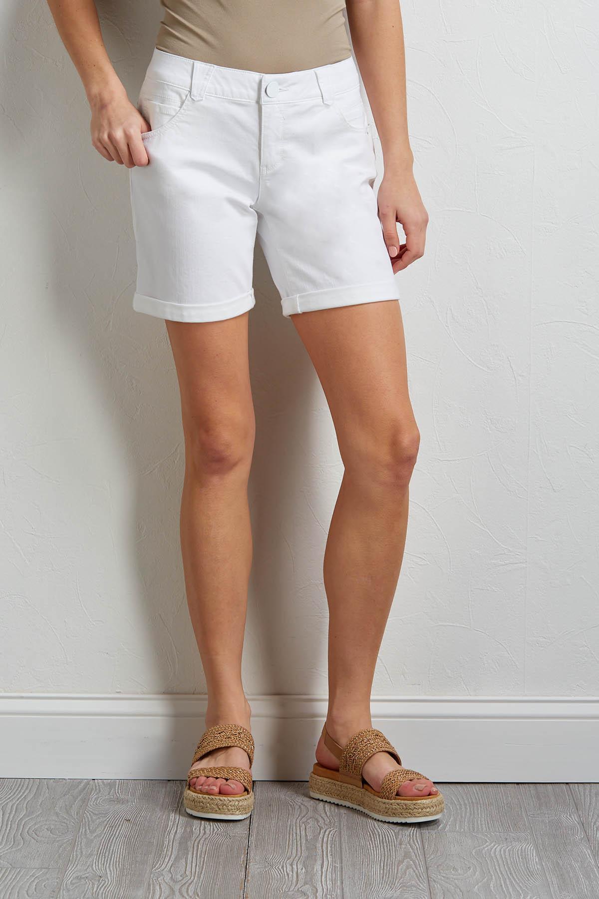 Shape Enhancing White Denim Shorts