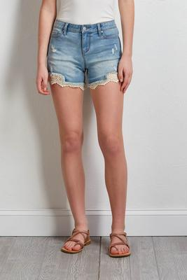 distressed lace denim shorts