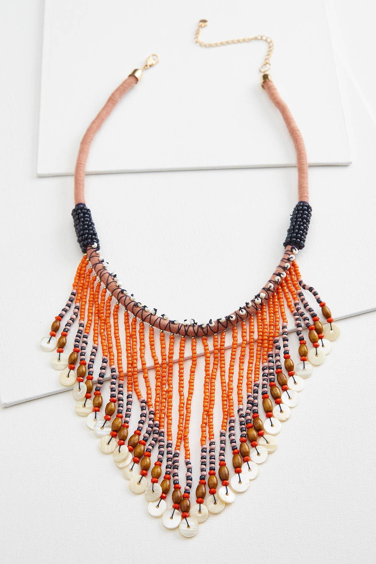 Beaded Fringe Bib Necklace