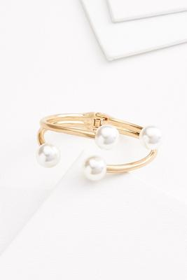 pearl and gold cuff bracelet
