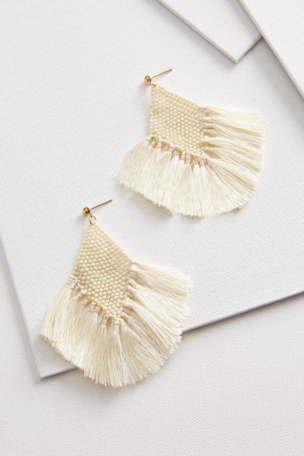 Pearl Fringe Beaded Earrings