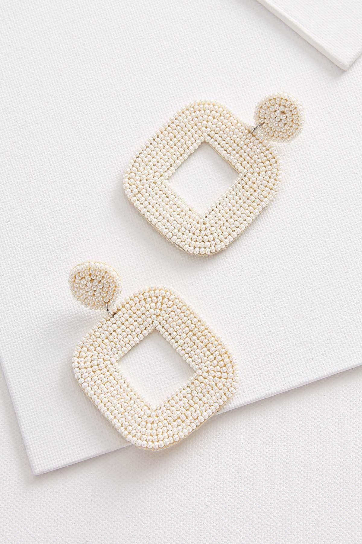 Beaded Squoval Earrings