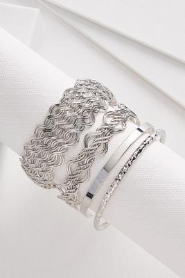 etched metal bangle set