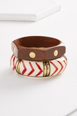 hexagon wooden and resin bangle set