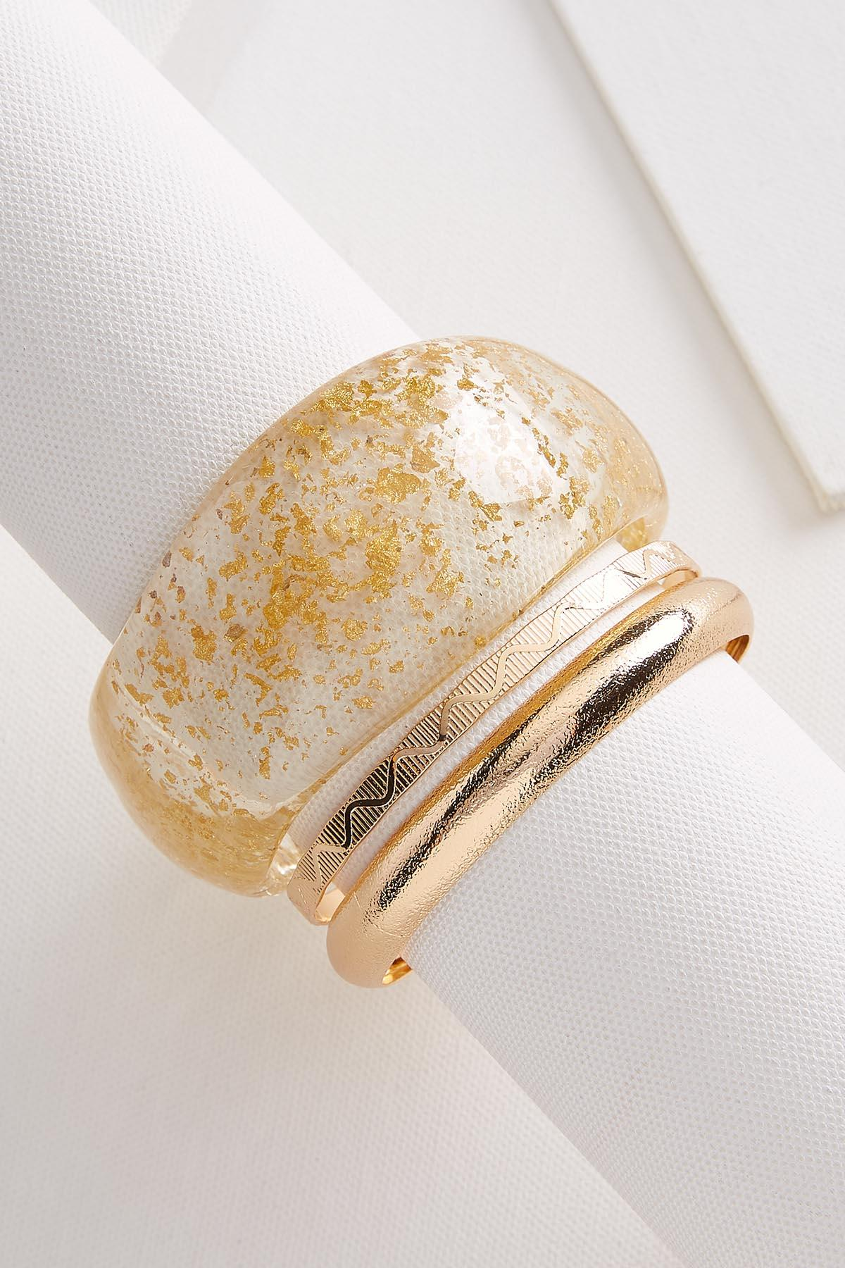 Speckled Lucite Bangle Set