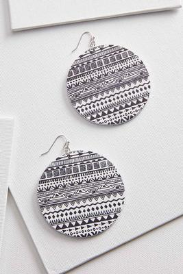 printed medallion earrings