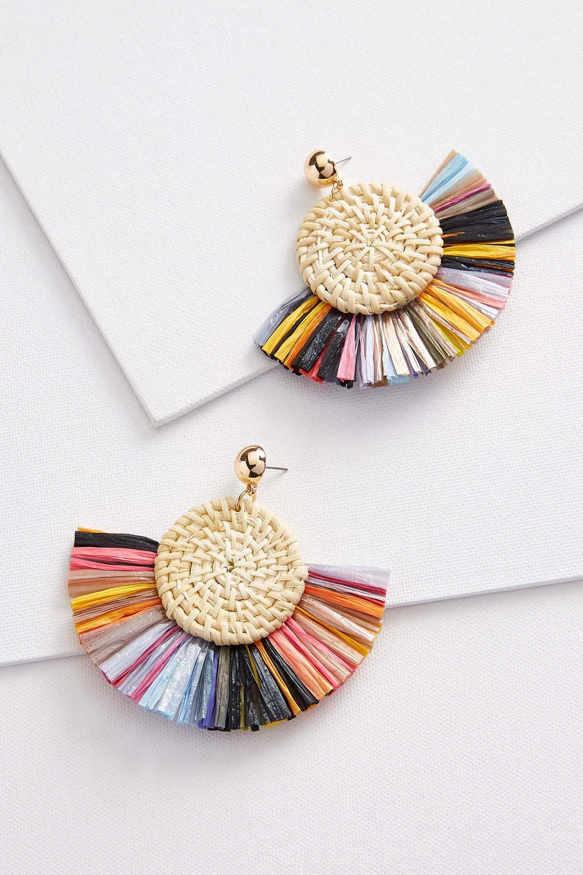 Colorful Raffia Earrings