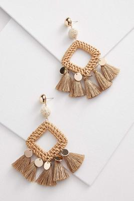 raffia coin earrings