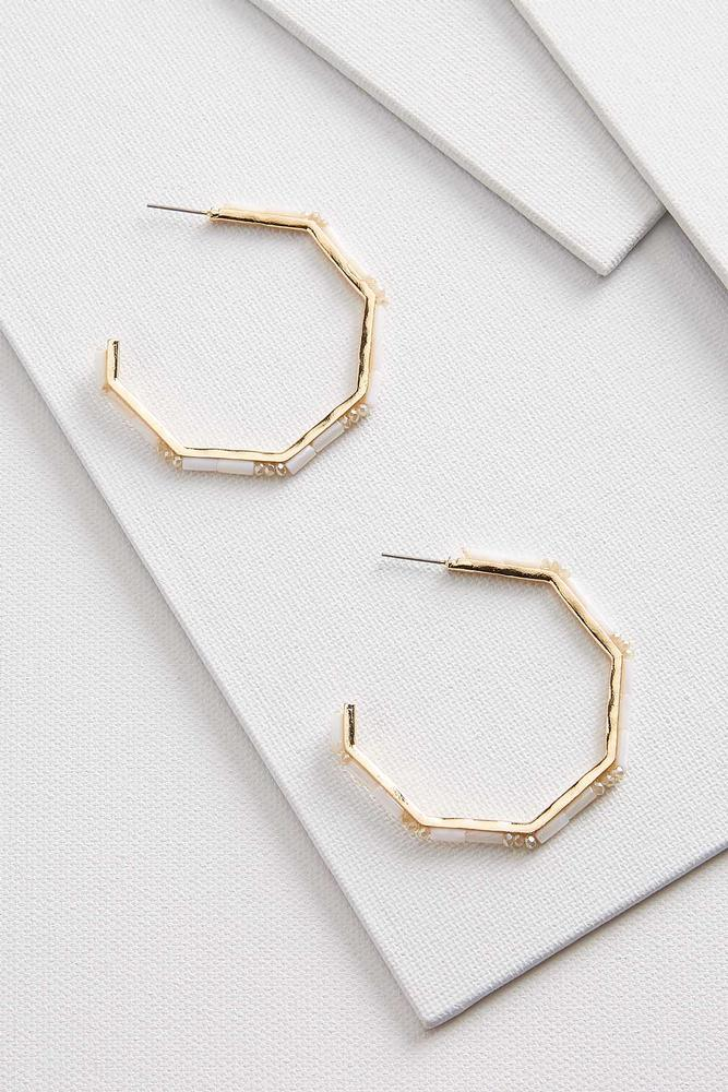 Beaded Geo Hoop Earrings