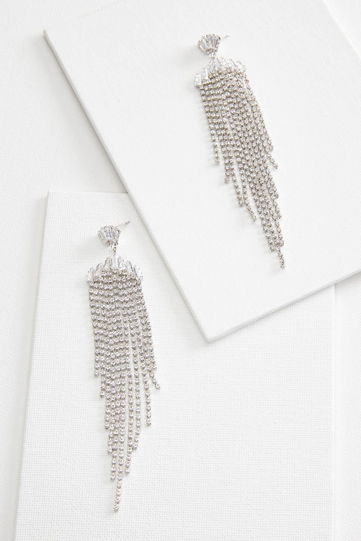 Rhinestone Fringe Earrings