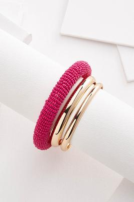 beaded metal bangle set