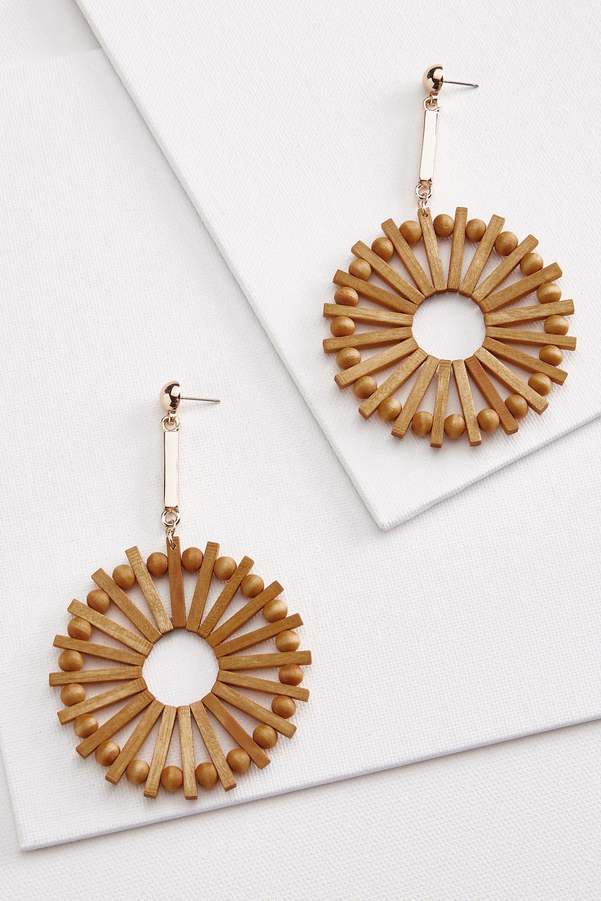 Wooden Burst Earrings