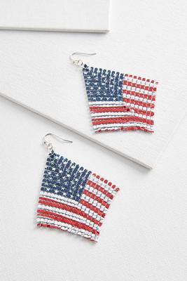 flag metal mesh earrings