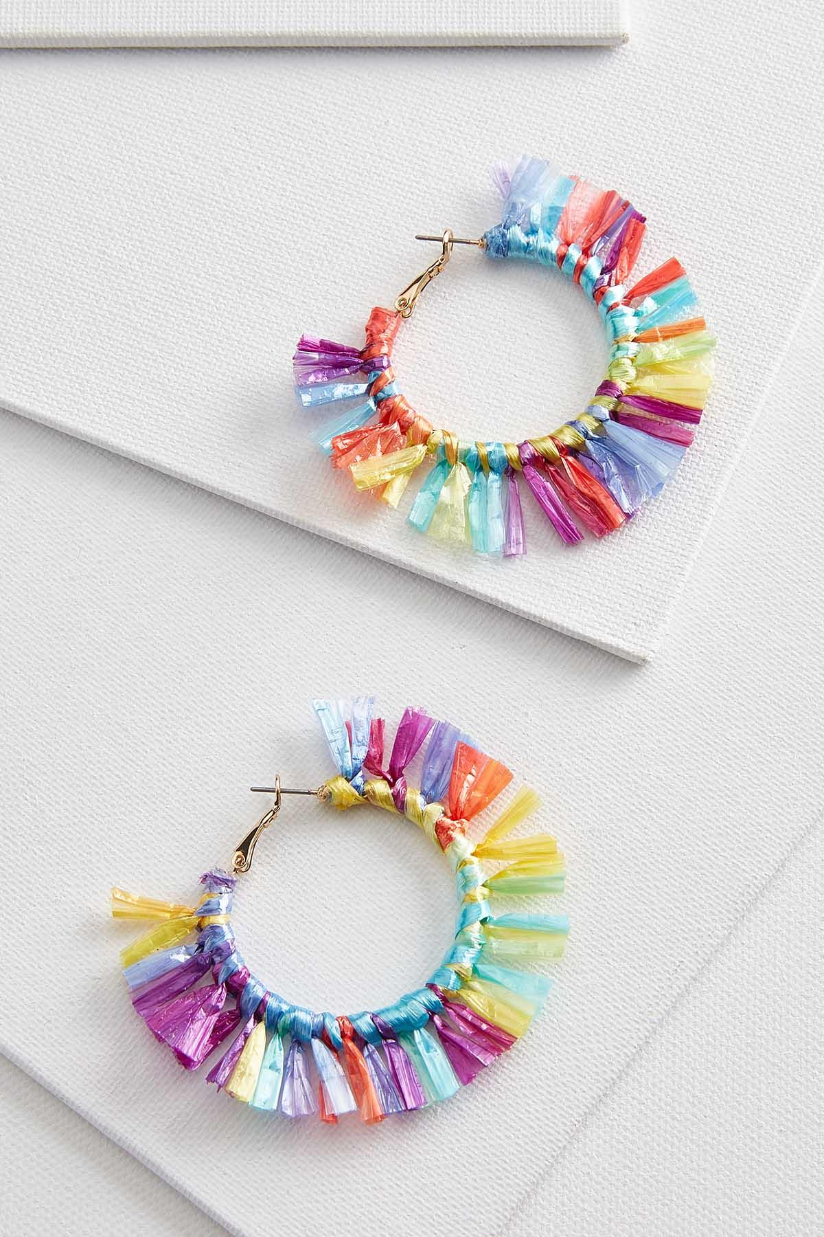 Rainbow Fringe Hoop Earrings