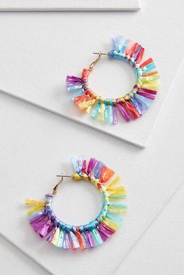 rainbow fringe hoop earrings