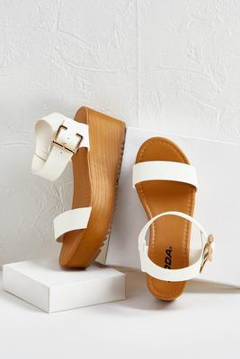 ankle strap wood flatforms