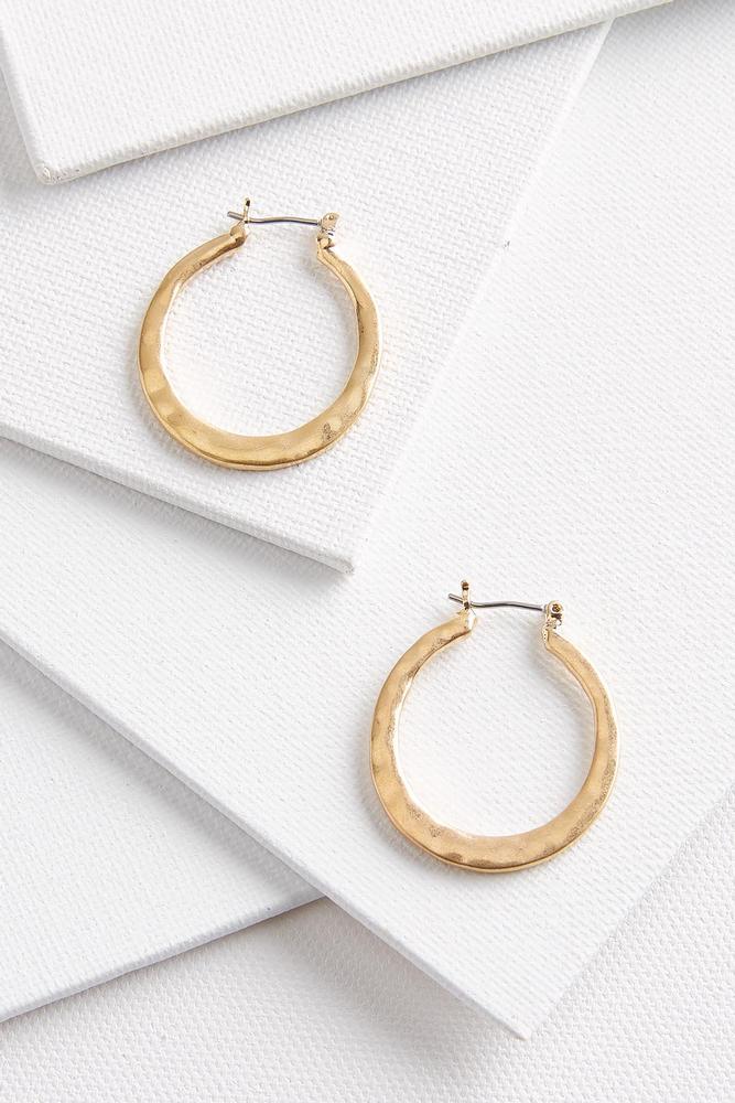 Simple Hammered Hoop Earrings