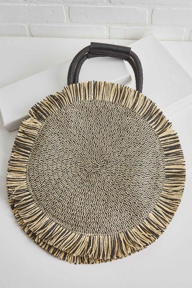 Straw Tote With Fringe
