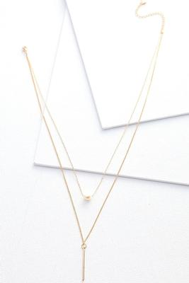 layered peal and bar necklace
