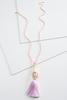 Beaded Lucite Tassel Necklace