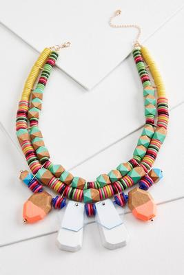 rainbow wooden necklace