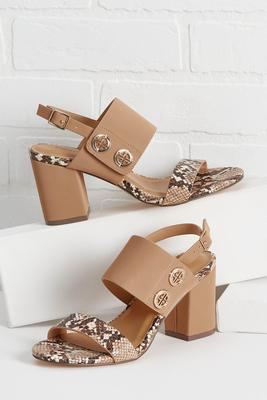 snake break heeled sandals