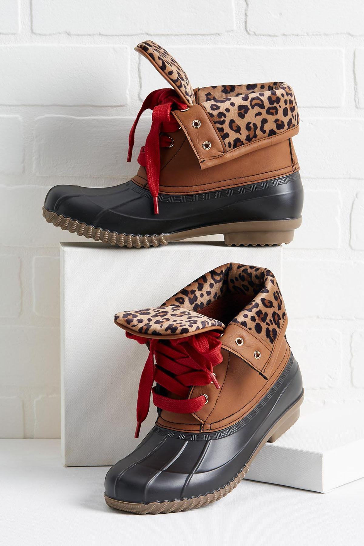 Leopard Cuff Duck Boots