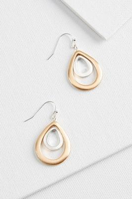 two tone tear earrings