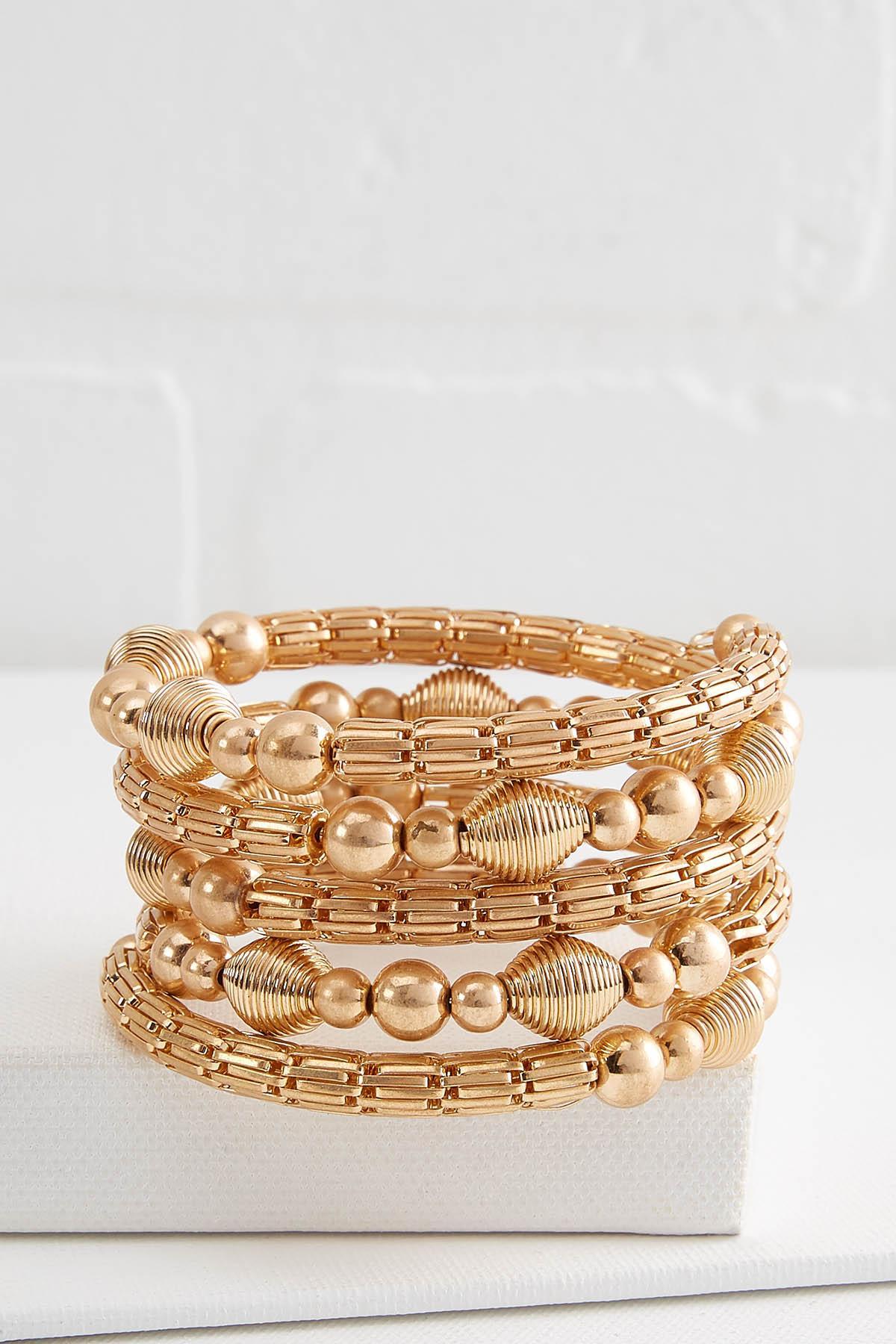 Mixed Gold Coil Bracelet