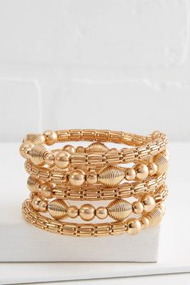 mixed gold coil bracelet
