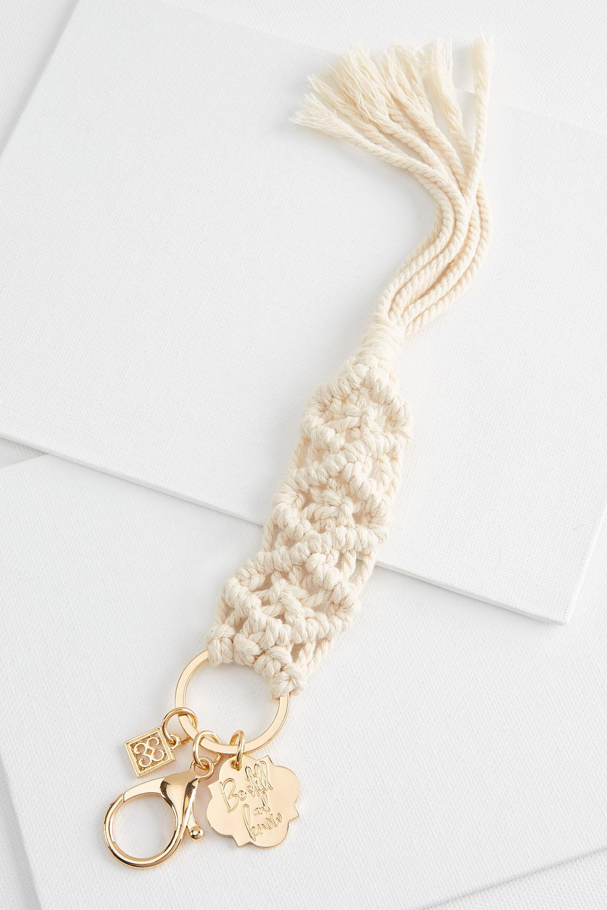 Be Still Macrame Keychain