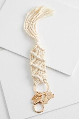 dog mom macrame keychain