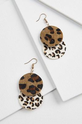 round leopard earrings