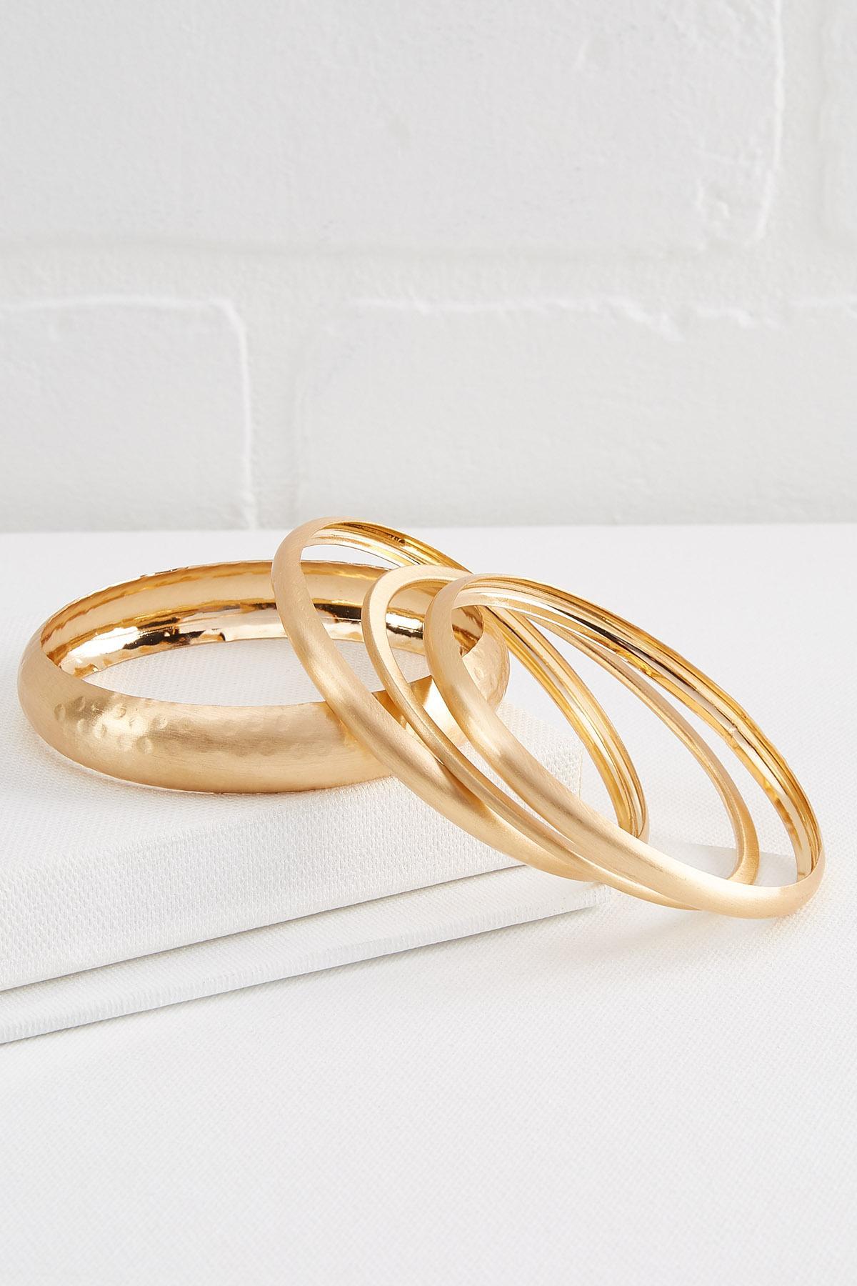 Brushed Gold Bangle Set