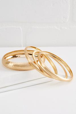 brushed gold bangle set